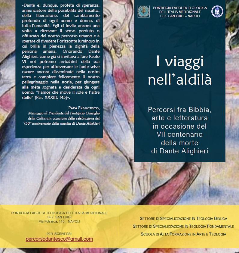 Brochure del ciclo di eventi I viaggi nell'aldilà per il centenario dantesco