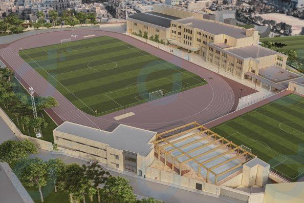 Un rendering del nuovo complesso sportivo del St. Aloysius College a Malta