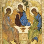 https://it.wikipedia.org/wiki/Trinit%C3%A0_(Andrej_Rubl%C3%ABv)#/media/File:Angelsatmamre-trinity-rublev-1410.jpg