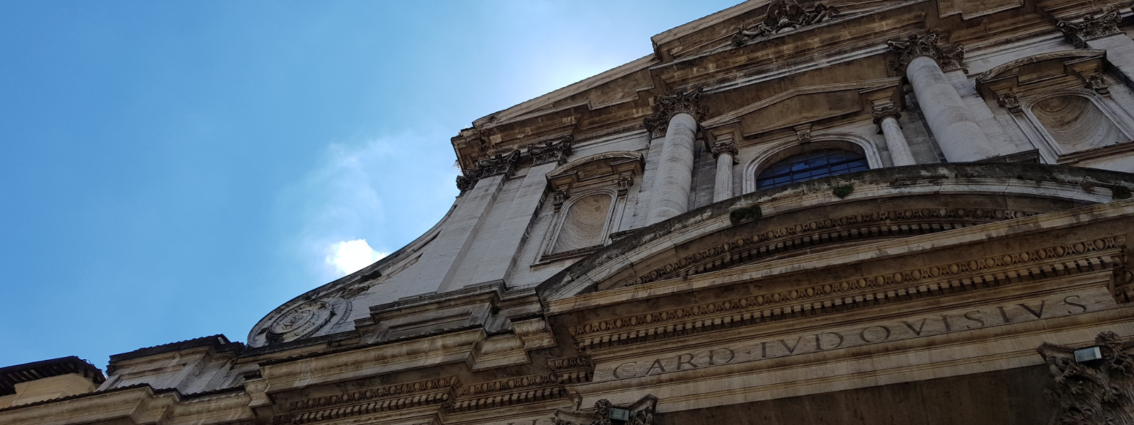 Detail of the facade of the church of Saint Ignatius in the Campo Marzio district in Rome